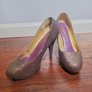 💫Madden girl purple glitter heels size 8.5